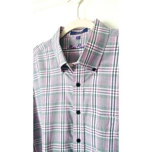 Alan Flusser Plaid Lavander Long Sleeve Shirt XL